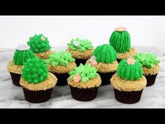 HOT CAKE TRENDS 2016 Buttercream Cactus cupcakes | Cacti cupcakes - How to make by Olga Zaytseva - YouTube