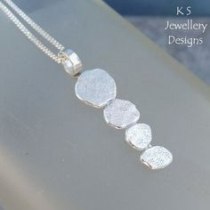 Stepping Stones Fine Silver & Sterling Silver Textured Pendant - Metalwork £28.00