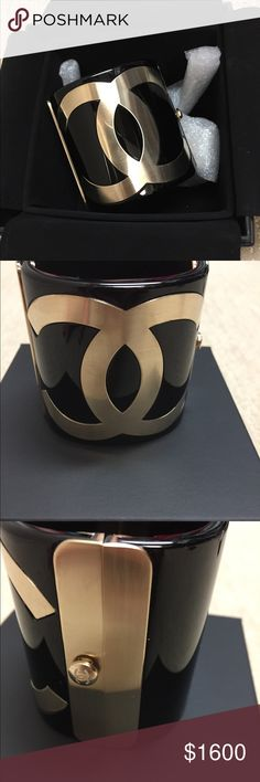 CHANEL BLack Cuff with Gold CC CHANEL black cuff with gold CC.  New condition without scratches or scuffs.  Easy to wear casual or dressy.  Comes with original box, velvet cover, and original receipt.  No trades please❣️ CHANEL Jewelry Bracelets