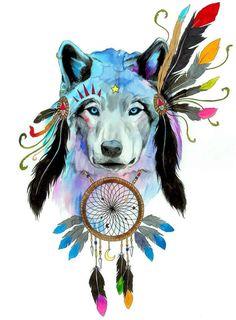 Espíritu lobo firmado Art Print por PixieColdArt en Etsy