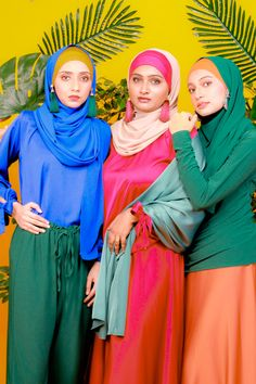 Zaryluq Modest Fashion involves Modesty with Confidence. Azure Blue, Opal Green, Burnt Sienna Orange and Flaming Red for the perfect colour combination aesthetic. Hijab Fashion Inspiration, Style Inspiration, Color Pop, Colour, Modest Wear, Blue Opal, Aesthetic Fashion, Modest Fashion, Industrial Style