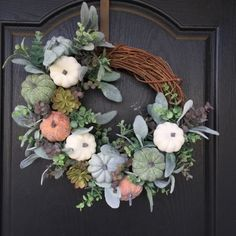 A Pumpkin Wreath - Front Door Decorations Fall Wreaths, Christmas Wreaths, Creative Pumpkins, Cotton Blossom, Succulent Wreath, Lambs Ear, Pumpkin Wreath, Frame Wreath, Door Wreath