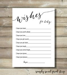 Baby Shower Wishes For Baby Game Card Boy or Girl Gender Neutral Black White Dear Baby Baby Shower Games Modern 5x7 3.5x5 Printable PDF DIY