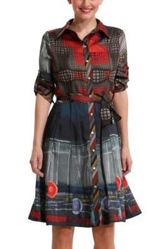 Desigual women's Caprica shirtwaist dress. It has long sleeves, though these can be rolled up.