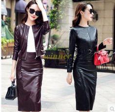Womens Slim Fit Long Sleeve Pu Leather Jacket Winter Fashion Skirt Shirts Dress