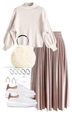 A fashion look from October 2017 featuring mock neck top, midi skirt and Alexander McQueen. Browse and shop related looks. Modest Fashion Hijab, Modern Hijab Fashion, Hijab Fashion Inspiration, Muslim Fashion, Mode Inspiration, Look Fashion, Hijab Casual, Modesty Fashion, Workwear Fashion