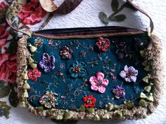 Outrageous Azure Steampunk Vintage Beaded Floral by Bettohz, $325.00