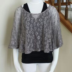 Oversize Knitted crop top/shawl Mint cond. Made in USA Charlotte Russe Tops Crop Tops