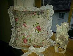 Vintage -Shabby Chic ,2-er Set Kissenbezug - Kissenhülle 45 x 45 cm Rosen Volant