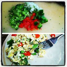 Scrambled Egg Whites with Veggies     * Spray skillet with Pam  * On medium/high heat add your favorite veggies (I added red and green peppers, broccoli, and onion)  * Add one whole egg (for added protein) and two or three egg whites  * Scramble together until eggs and vegtables have cooked and serve