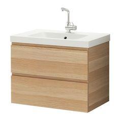 GODMORGON / ODENSVIK Mobile per lavabo con 2 cassetti - effetto rovere con mordente bianco - IKEA