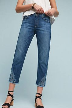Joe's Smith Mid-Rise Embroidered Cutout Cropped Jeans