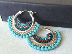Items similar to Mariposa – Turquoise and Coral Beadwoven Butterfly Wing Earrings on Etsy - DIY Schmuck Beaded Earrings Patterns, Beaded Tassel Earrings, Wing Earrings, Earrings Handmade, Handmade Jewelry, Unique Jewelry, Coral Earrings, Hoop Earrings, Seed Bead Jewelry