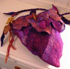 Faerie Pixie Bag Felted Purple Gold Autumn Leaves by folkowl