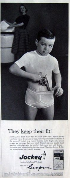 Jockey jr briefs ad. This just makes me laugh. The gun in the jocks... I have an aspie child that is obsessed with guns and is often seen leaping about with one hanging from his undies. I also love the corny whitey whiteness of the under shirt and the Y fronts. I can't imagine my boys wearing white Y fronts!!