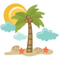 Beach Scene SVG files for scrapbooking palm tree svg file starfish svg file sun svg file seashell svg file