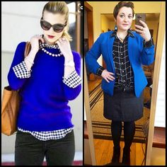 """#ChubbyChique 2-3-2016 #ootd #beYOUtiful16 #pinneditspinnedit #february2016promptandpin """"CHECKING You Out"""" Black bottoms, checked shirt and blue layered inspiration from @nicholeciotti"""