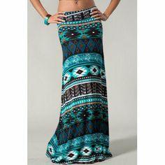 Turquoise Aztec Print Maxi Skirt on Wanelo