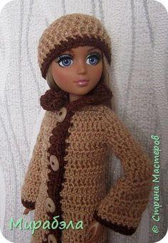 Здравствуйте! Предлагаю вам связать пальто и шапочку для куклы Мокси Тинз. фото 17