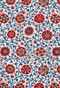Fergana Embroidery Print Fabric traditional upholstery fabric