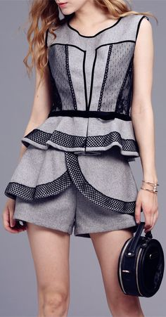 Lace Peplum Tank Top With Shorts