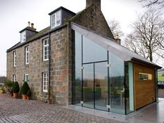 An exhilarating glass, oak and zinc extension at prospect house in Cluny Estate, Sauchen, Aberdeenshire, Scotland by JAMstudio Residential Architecture, Architecture Design, Orangerie Extension, Cottage Extension, Glass Extension, Extension Ideas, House Extensions, Glass House, Minimalist House