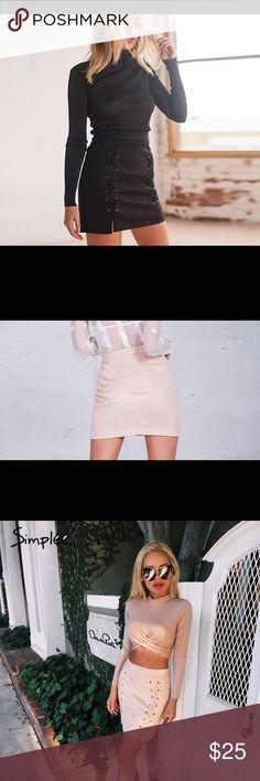 """HIGH WAIST LACE UP SUEDE SKIRT Women's high waist lace up suede skirt. Size Medium: waist 28"""", hip 34"""" and top to bottom 17""""1/2 Large: waist 29"""", hip 36"""", top to bottom 18"""" Skirts Mini"""