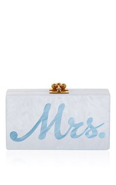 M'o Exclusive: Edie Parker Jean Mrs Clutch In Blue by EDIE PARKER for Preorder on Moda Operandi