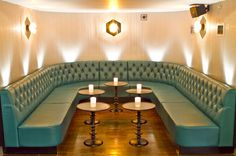 Booth & Banquette Seating  -  Pictured above our Sorrento Diamond Buttoned restaurant booth in stunning Shann leather.