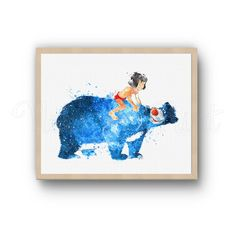 Mowgli and Baloo Disney Jungle Book watercolor Art by NekoArtPrint