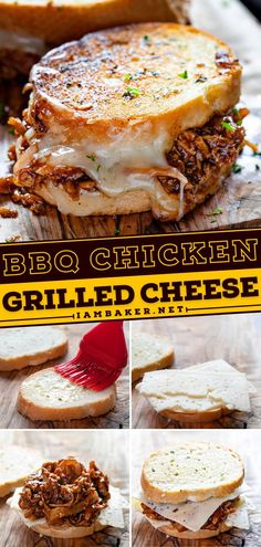 BBQ Chicken Grilled Cheese Sandwiches are the perfect addition to your summer dinner recipes! Garlicky bread is pan-fried and paired with BBQ chicken and creamy cheese. Pin this summer bbq party idea! Bbq Chicken Sandwich, Grilled Bbq Chicken, Summer Desserts, Summer Recipes, Garlic Butter For Bread, How To Make Bbq, Creamy Cheese, Sandwich Recipes, Cheese Recipes