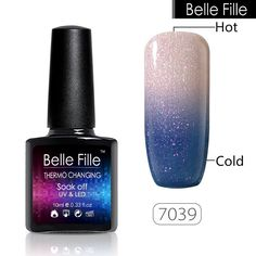 BELLE FILLE Chameleon Temperature Color Change Nail Gel Polish Soak-off UV 10ml   eBay
