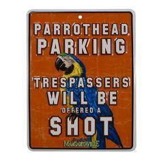 Parrothead Parking Tin Sign
