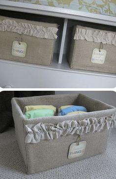 Burlap-Covered Storage Box Tutorial