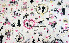 Alice in wonderland fabric Alice and Bambi print. $8.50, via Etsy.
