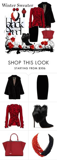"""""""Winter Sweater in Black & Red"""" by teresarussell49 ❤ liked on Polyvore featuring Jean-Paul Gaultier, Jupe By Jackie, Alexander McQueen, Schutz, Fendi and Patricia von Musulin"""