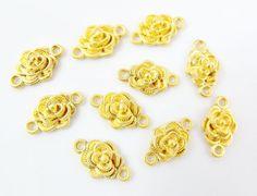 10 Mini Flat Back Carnation Flower Connectors  22k by LylaSupplies, $4.00