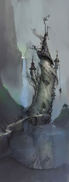 An old wizard lived in a twisted old tower surrounded by a moat dank and deep . .Smoky was the air and smoky the water, and the wizard himself was . . .  ----EDK