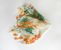 Turquoise and orange silk scarf. Hand painted flowers. Hand painted silk scarf. Ready to ship.