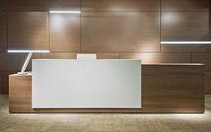 Modern wood and quartz reception that