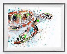 Tortue de mer peinture aquarelle imprimer tortue de par SlaviART