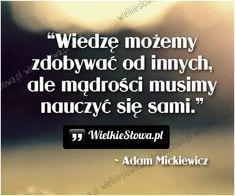 Wiedzę możemy zdobywać od innych... #Mickiewicz-Adam,  #Mądrość-i-wiedza, #Nauka-i-technika Weekend Humor, Life Philosophy, Motto, Wise Words, Life Is Good, Texts, Poetry, Inspirational Quotes, Wisdom