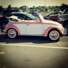 vintage pink and white VW bug...   I think... YES!!!!