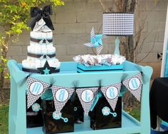 Diaper cake on a changing table display