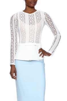Long sleeve partially sheer white lace peplum blouse. Pair with a nude cami or delicate bralette.  Peplum Blouse by Gracia. Clothing - Tops - Blouses & Shirts Clothing - Tops - Long Sleeve Houston Texas