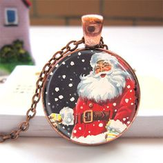 Glass Dome Charm Pendant Necklace Antique Bronze Plated Merry Christmas Santa Jewelry EXPIRING SOON