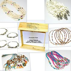 WHOLESALE LOT 36 Surfer Girls Necklaces FREE Wood Counter Display Puka Shell G2