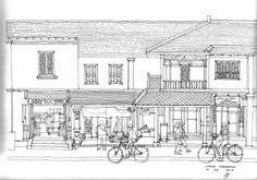 Architectural Sketch : Shophouse, Luang Prabang