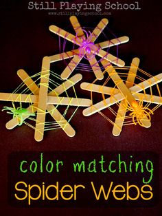 These spooky spider webs are a creative way to craft fine motor fun for Halloween . After the webs are made you have a color matching acti...