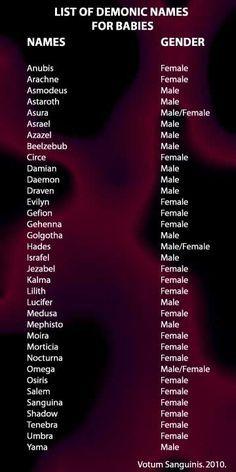 Choosing Demonic Names For A Baby – Celebrate The Underworld - Baby Namen Book Writing Tips, Writing Help, Writing Prompts, Writing Ideas, Demon Names List, Demon Names And Meanings, Angel Names List, Name Generator, Writing Tips